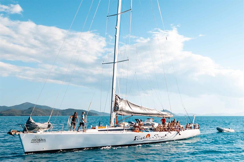 The Broomstick sailing boat at the Whitsundays, Queensland, Australia