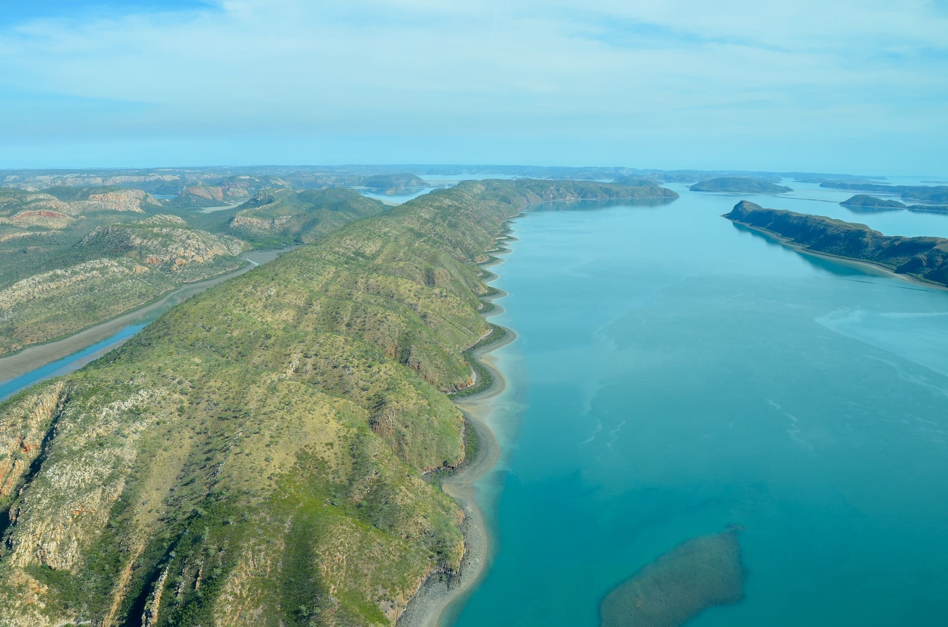 A helicopter view of the Buccaneer Archipelago in the Kimberley region, Western Australia