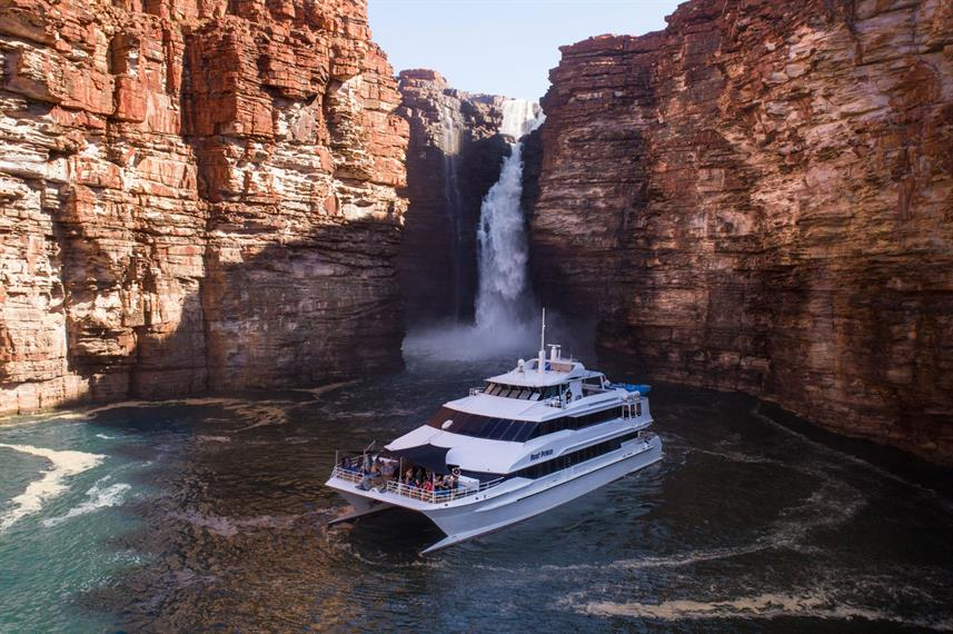 The Reef Prince cruise in front of the King George falls in Western Australia