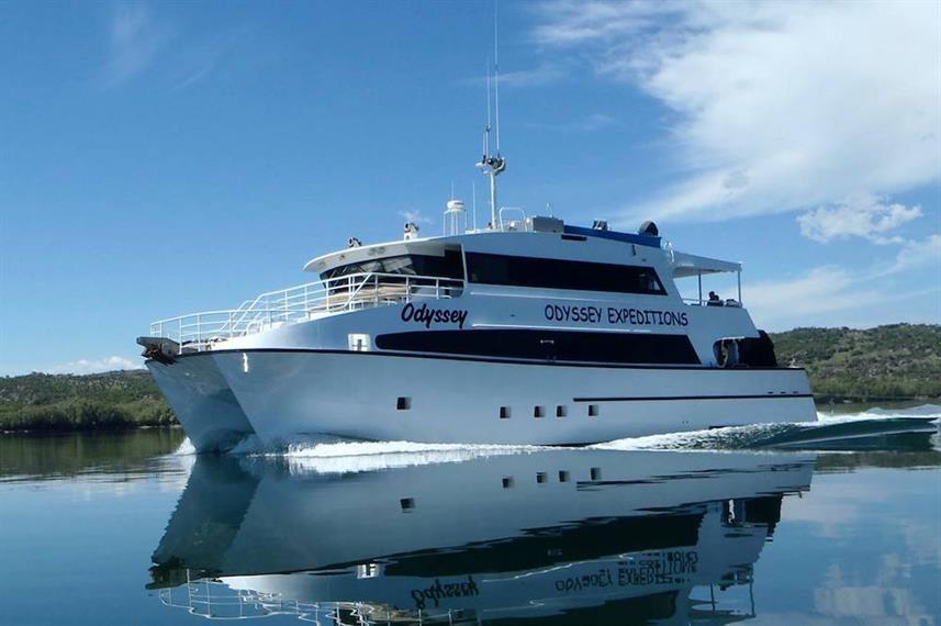 The Odyssey catamaran in the waters of Western Australia