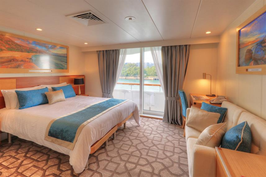 The Bridge Deck Balcony Stateroom can be booked for a Sydney cruise with the Coral Discoverer