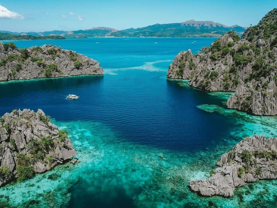 A view of the coast and waters at Coron Bay in Palawan