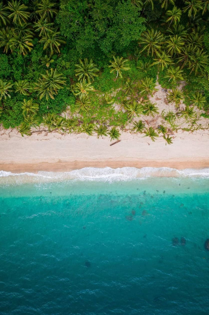 A drone photo from the beach in Puerto Galera, Oriental Mindoro in the Philippines