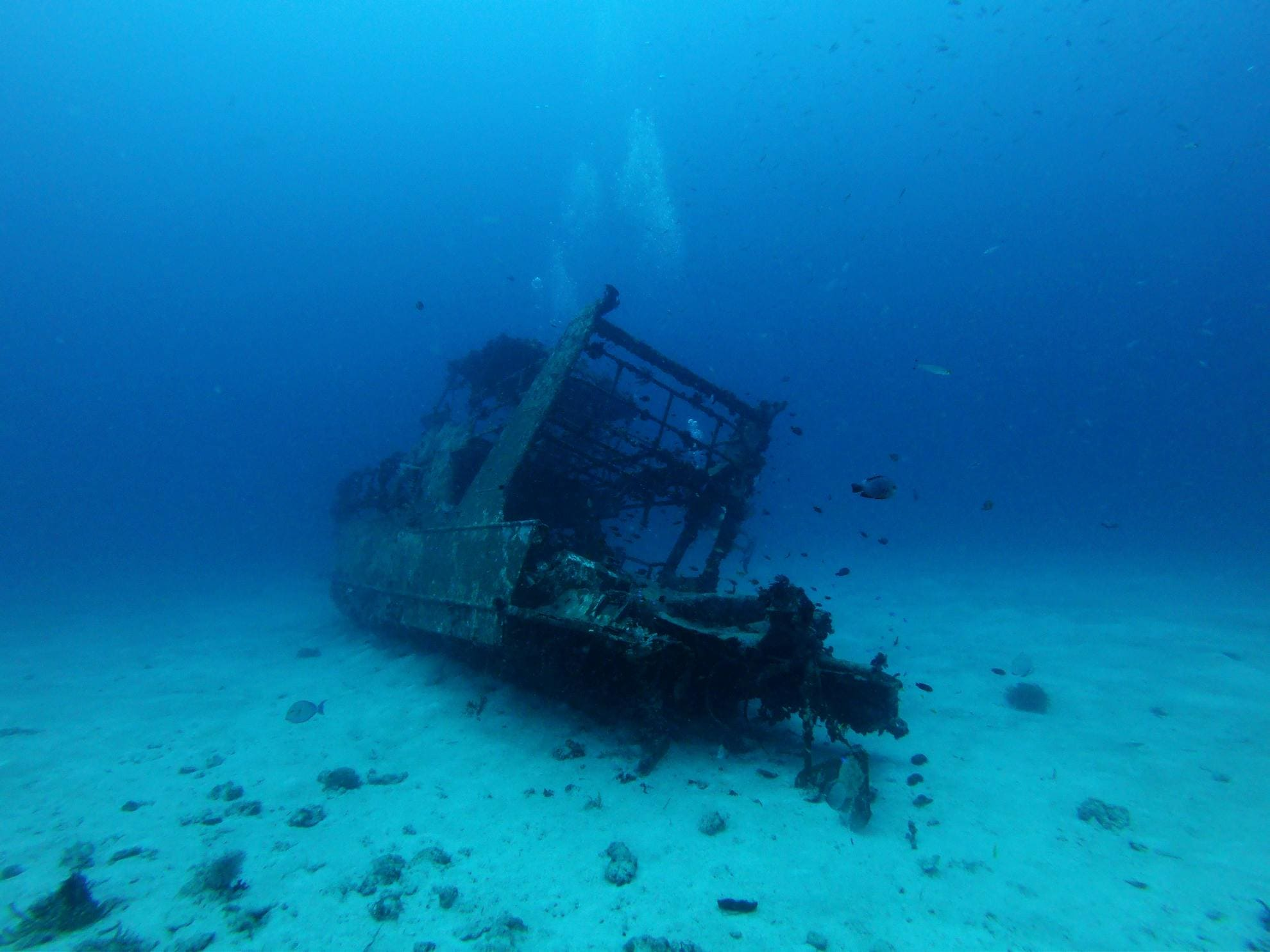 A wreck on the sandy bottom in front of Bohol Island, the Philippines