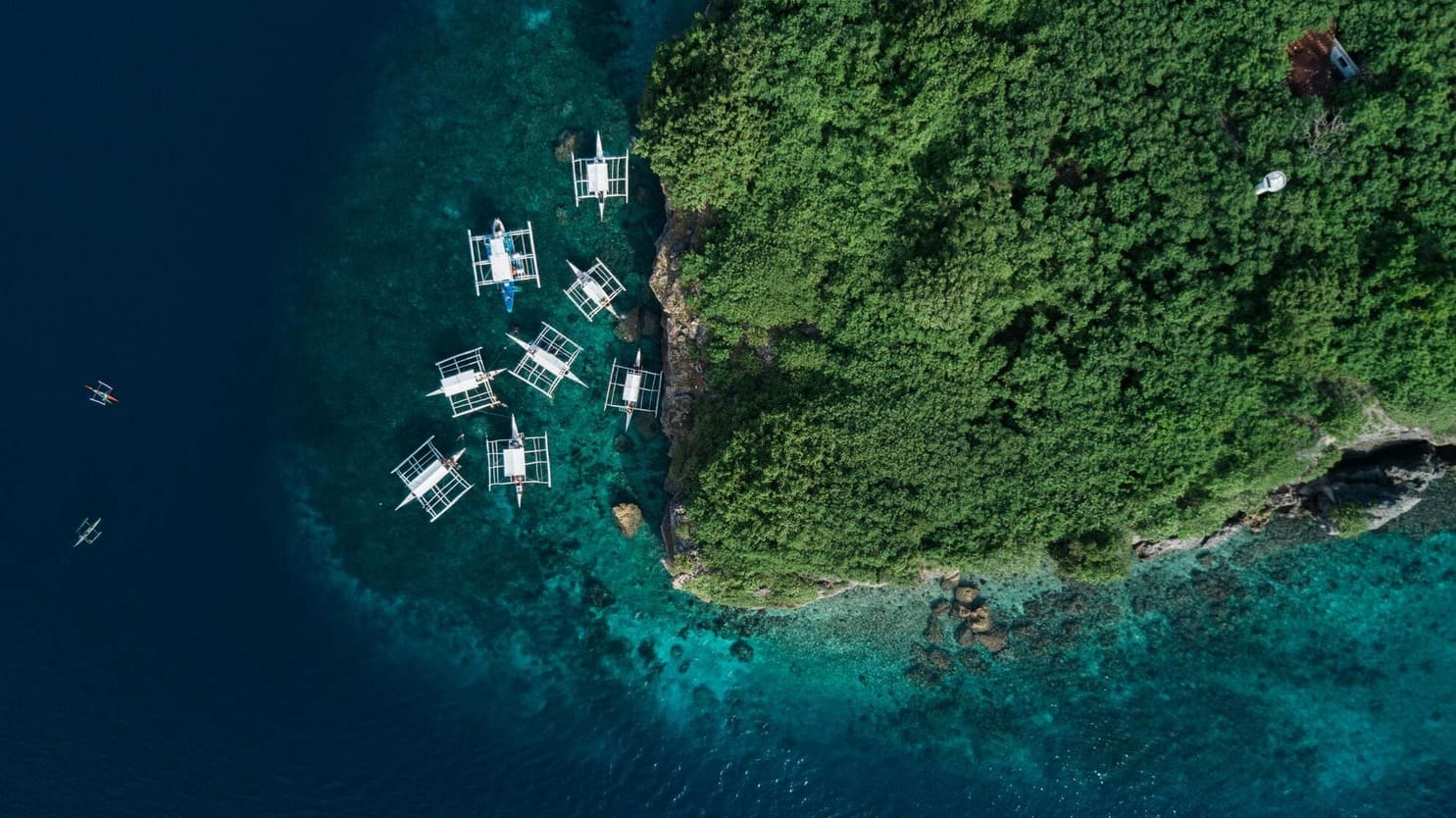 A drone photo from Pescador Island, the Philippines
