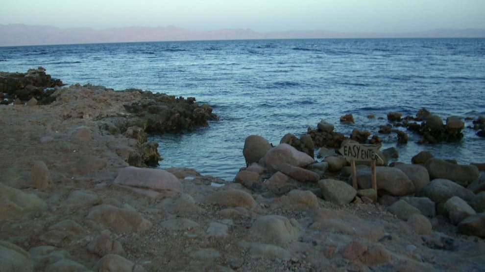 Entry to the dive site ''The Bells'' in Dahab, Egypt