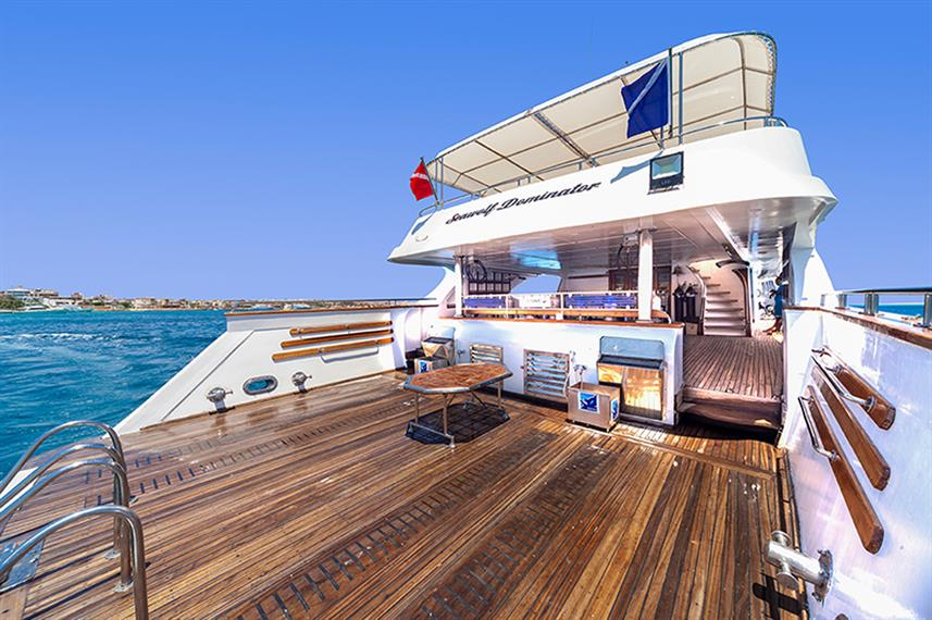 The dive deck of the Seawolf Dominator liveaboard in Egypt