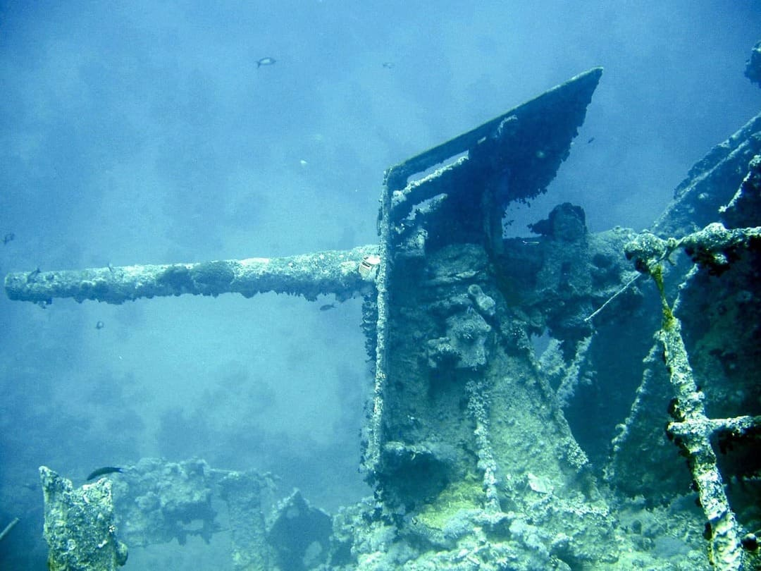 A cannon of the shipwreck ''the SS Thistlegorm'' in Egypt