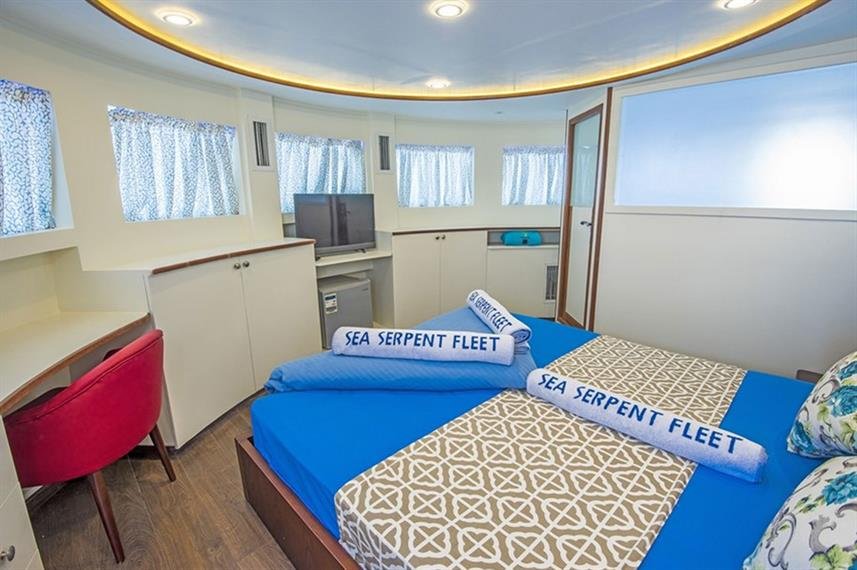The suite cabin on the liveaboard ''The Sea Serpent Grand'' in Sharm el Sheikh, Egypt