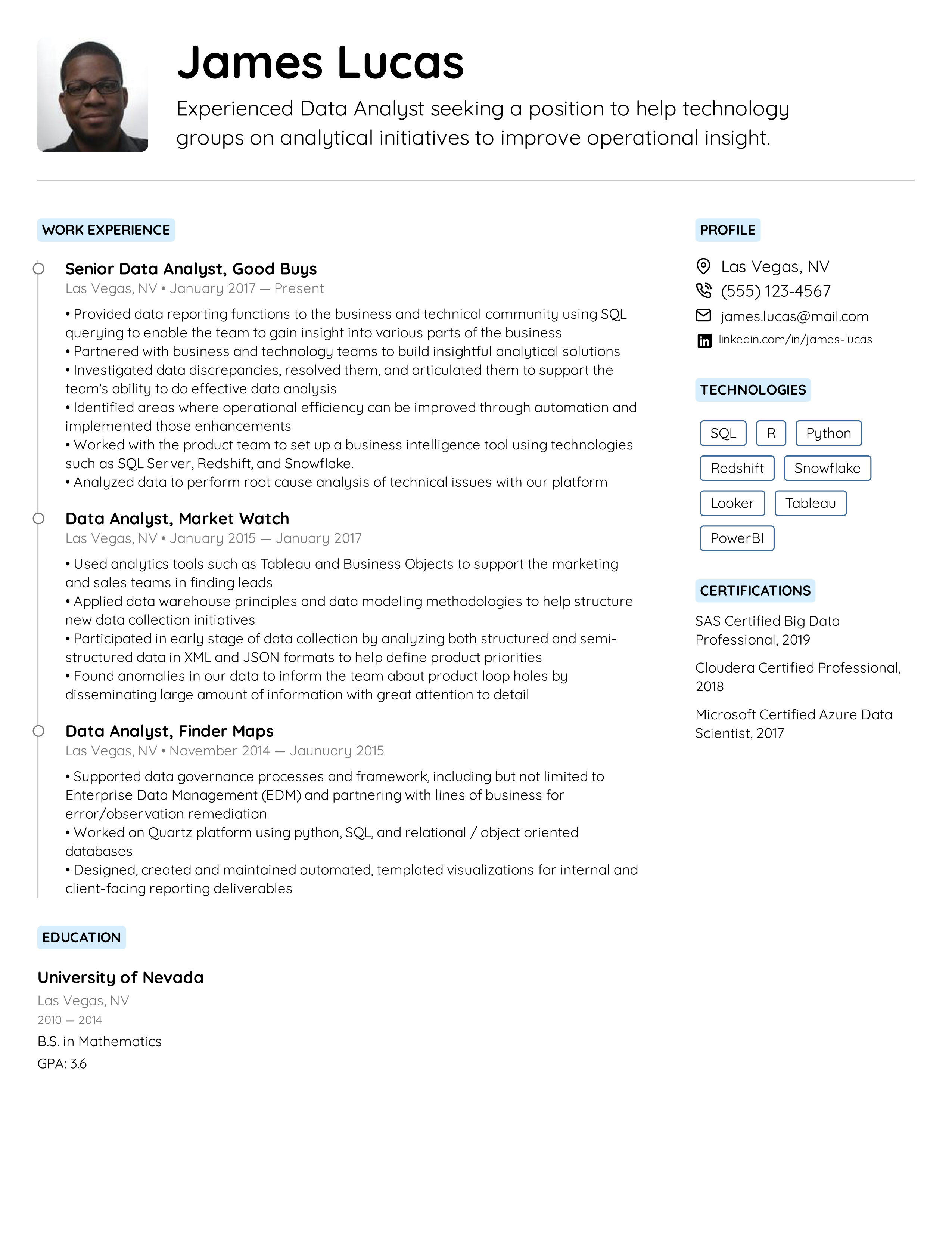 Data Analyst Resume Example Writing Tips For 2020