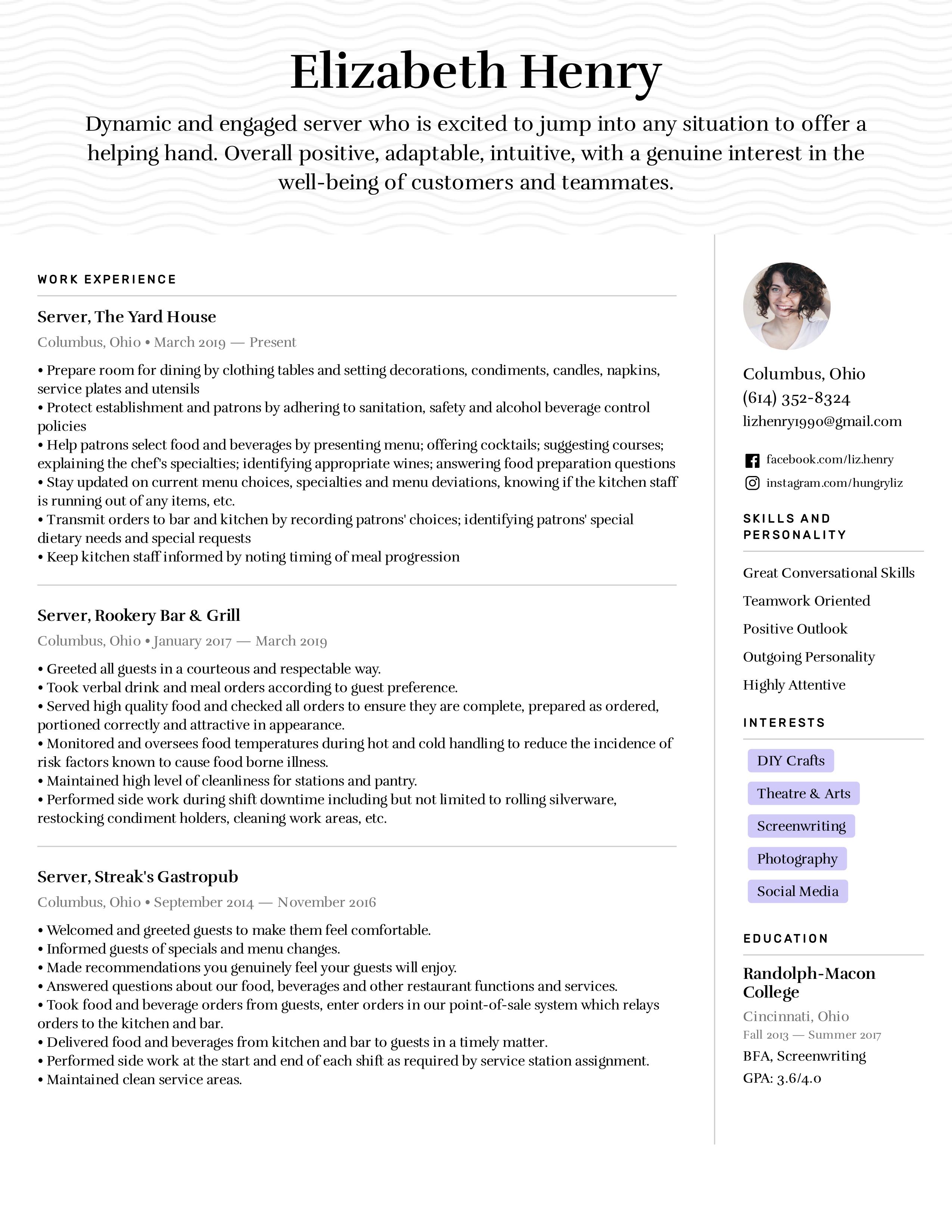 Server Resume Example & Writing Tips | Easy Resume