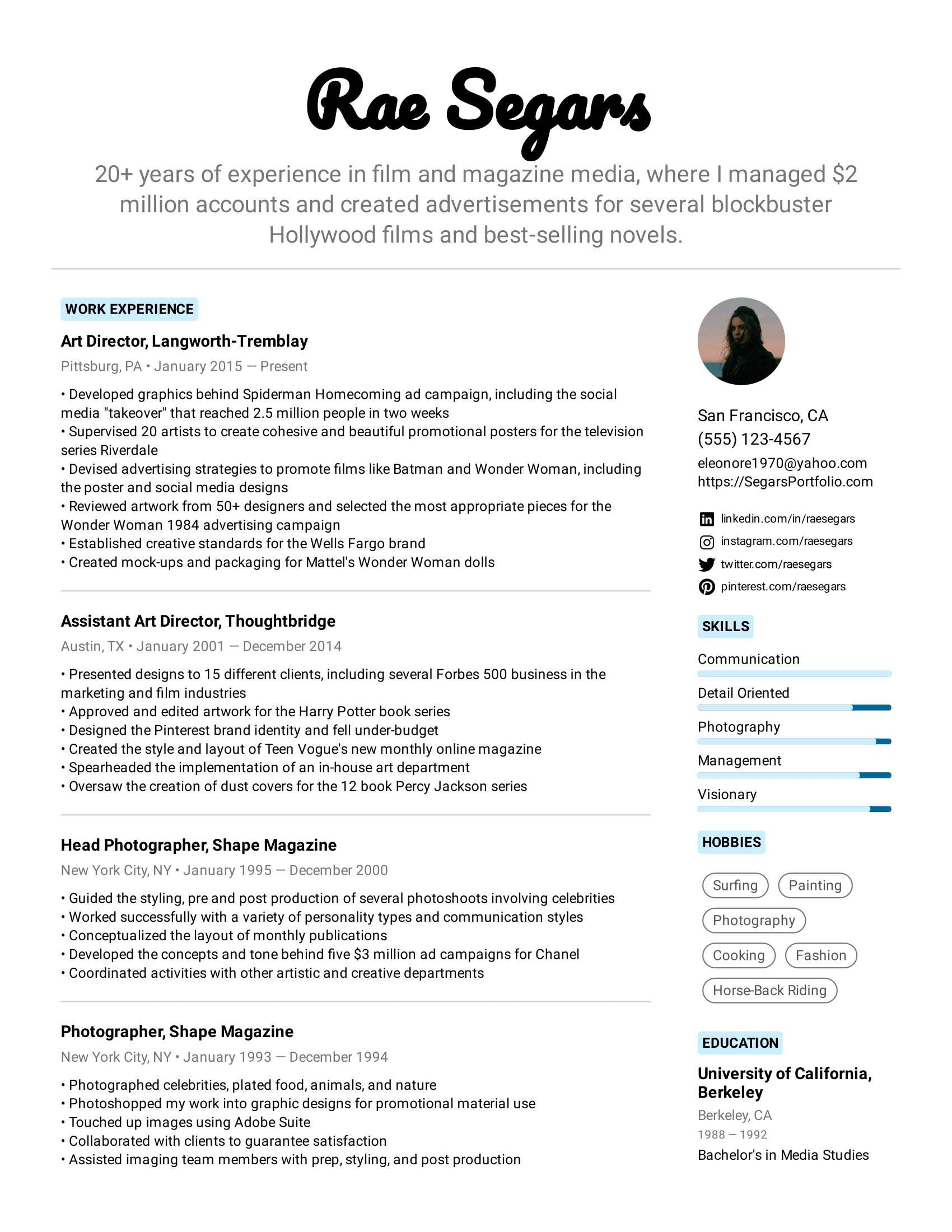 Art Director Resume Example