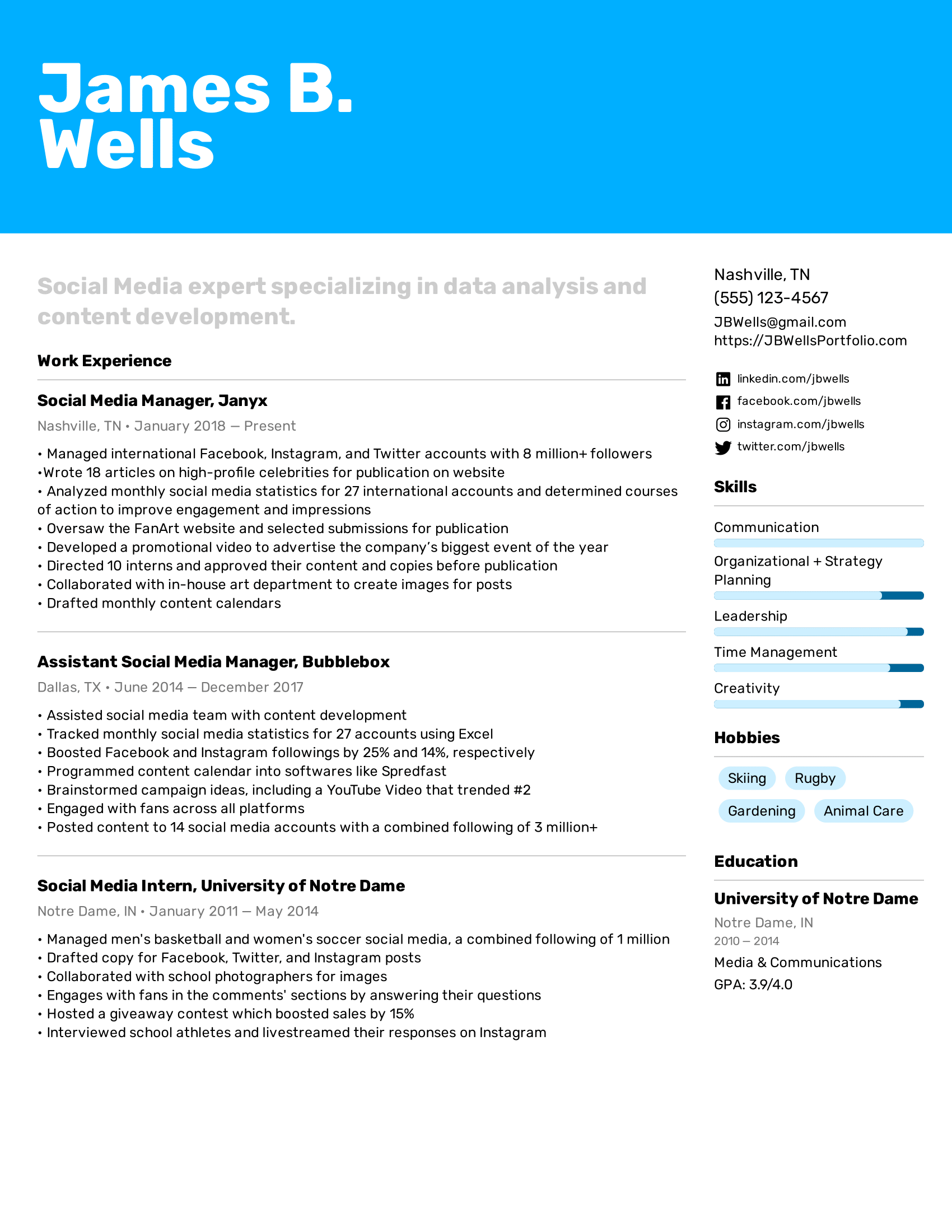 Social Media Manager Resume Example Writing Tips For 2020