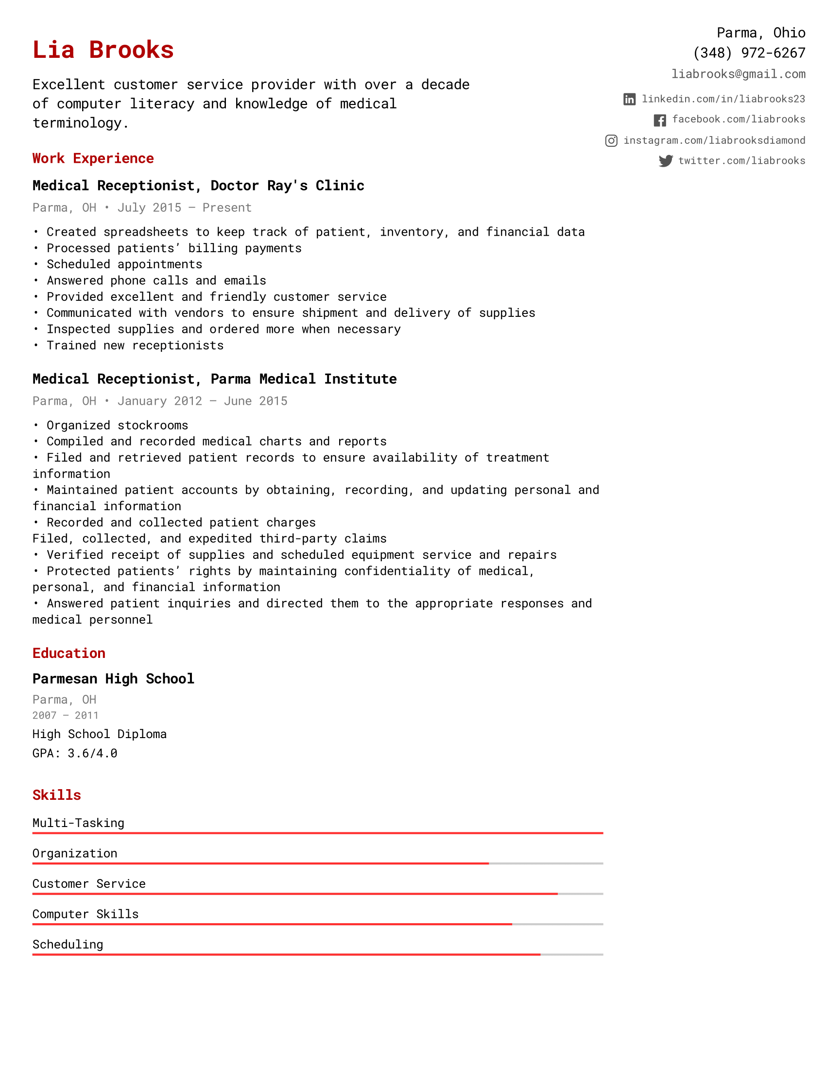 Medical Receptionist Resume Example