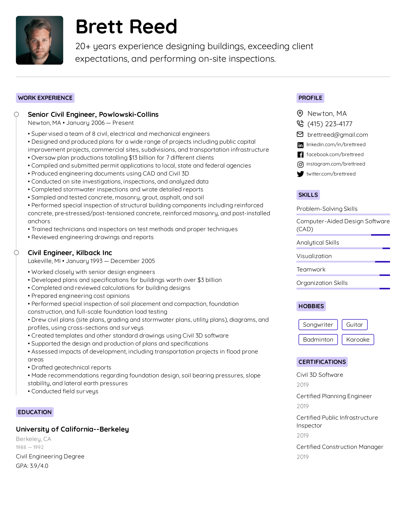 Civil Engineer Resume Example