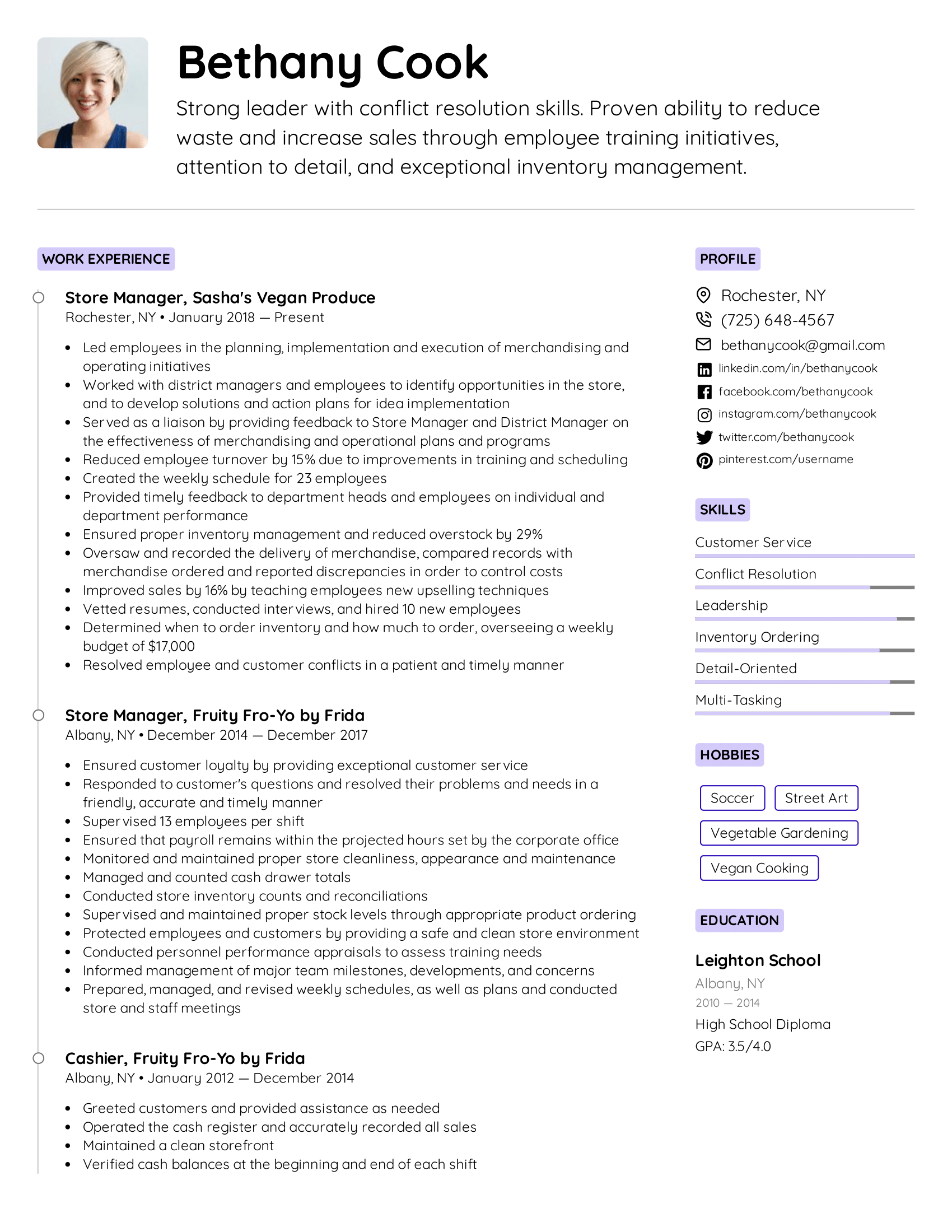 A simple resume template format