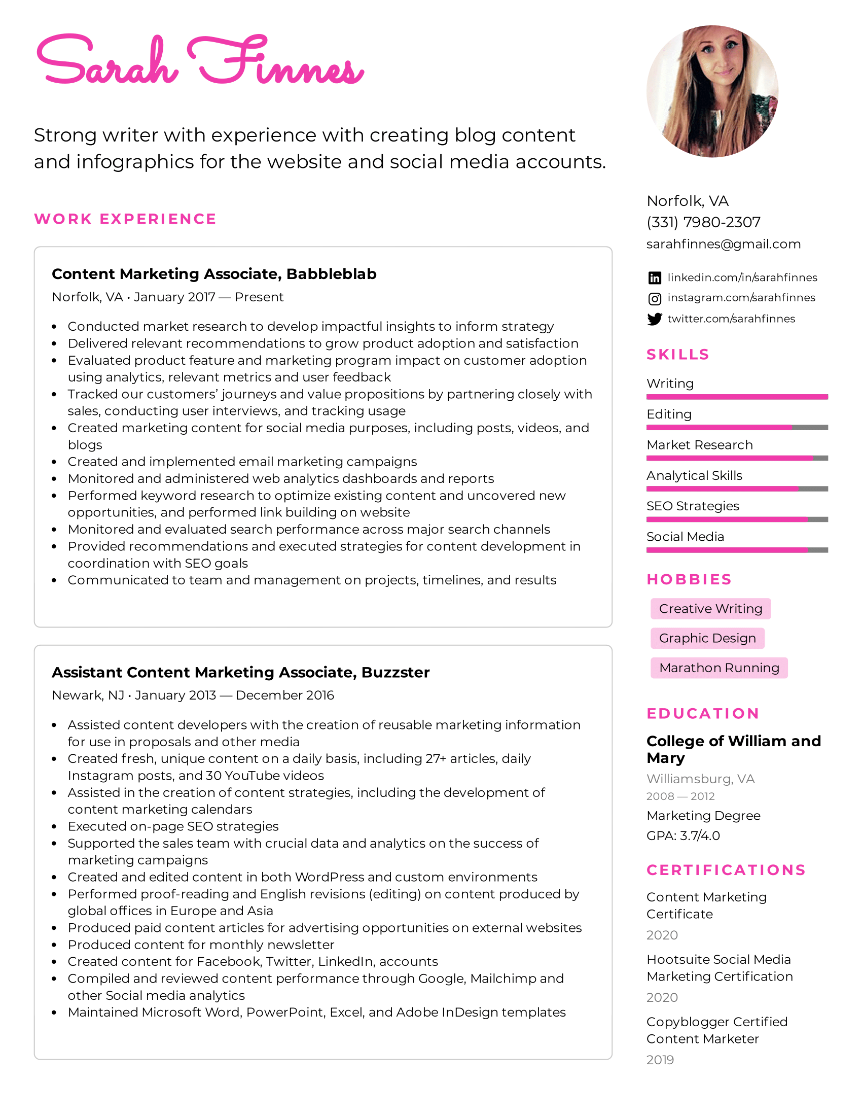 Content Marketing Associate Resume Example