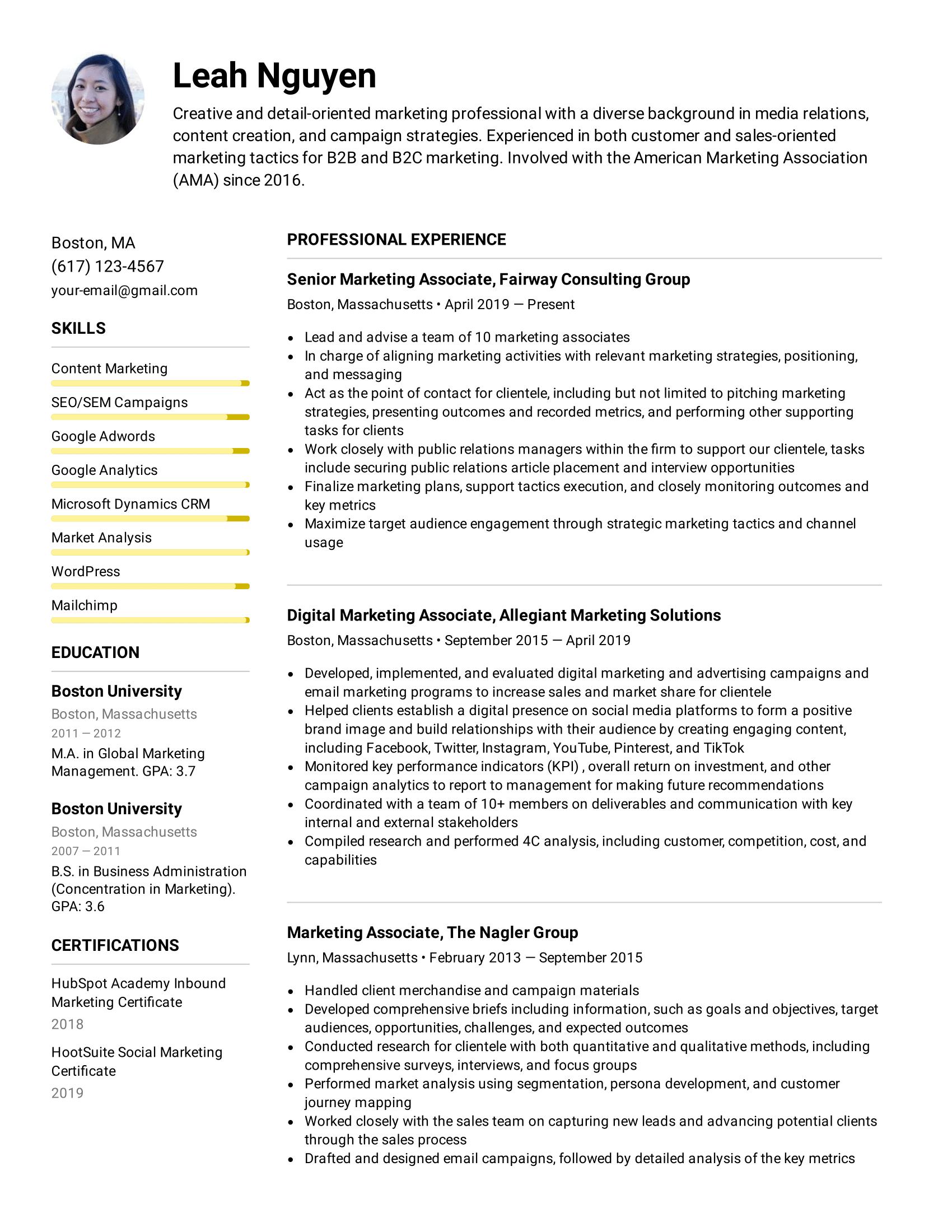 Marketing Associate Resume Example