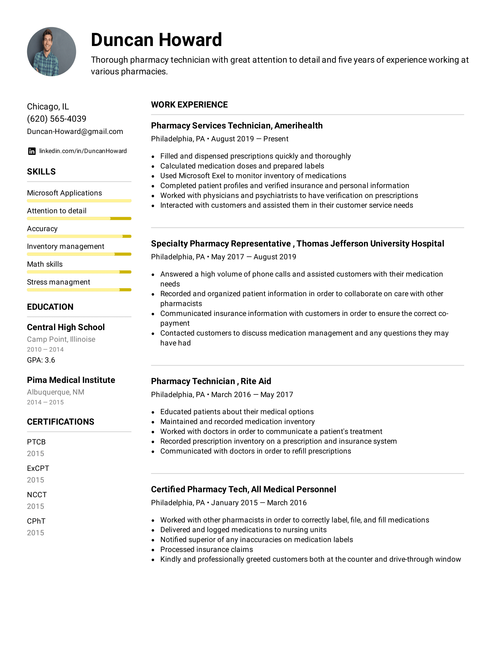 Pharmacy Technician Resume Example