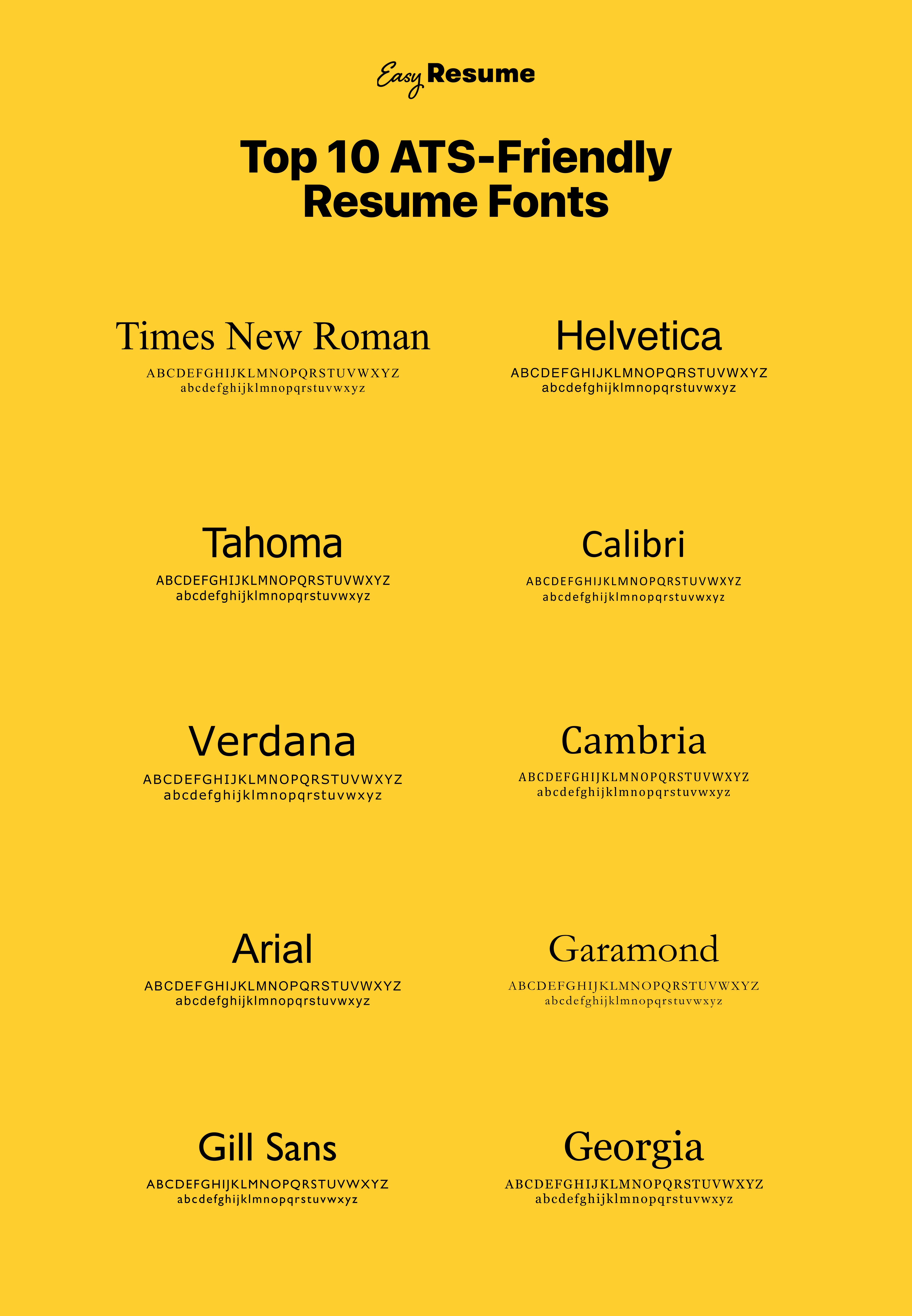 Top 10 ATS Friendly Resume Fonts