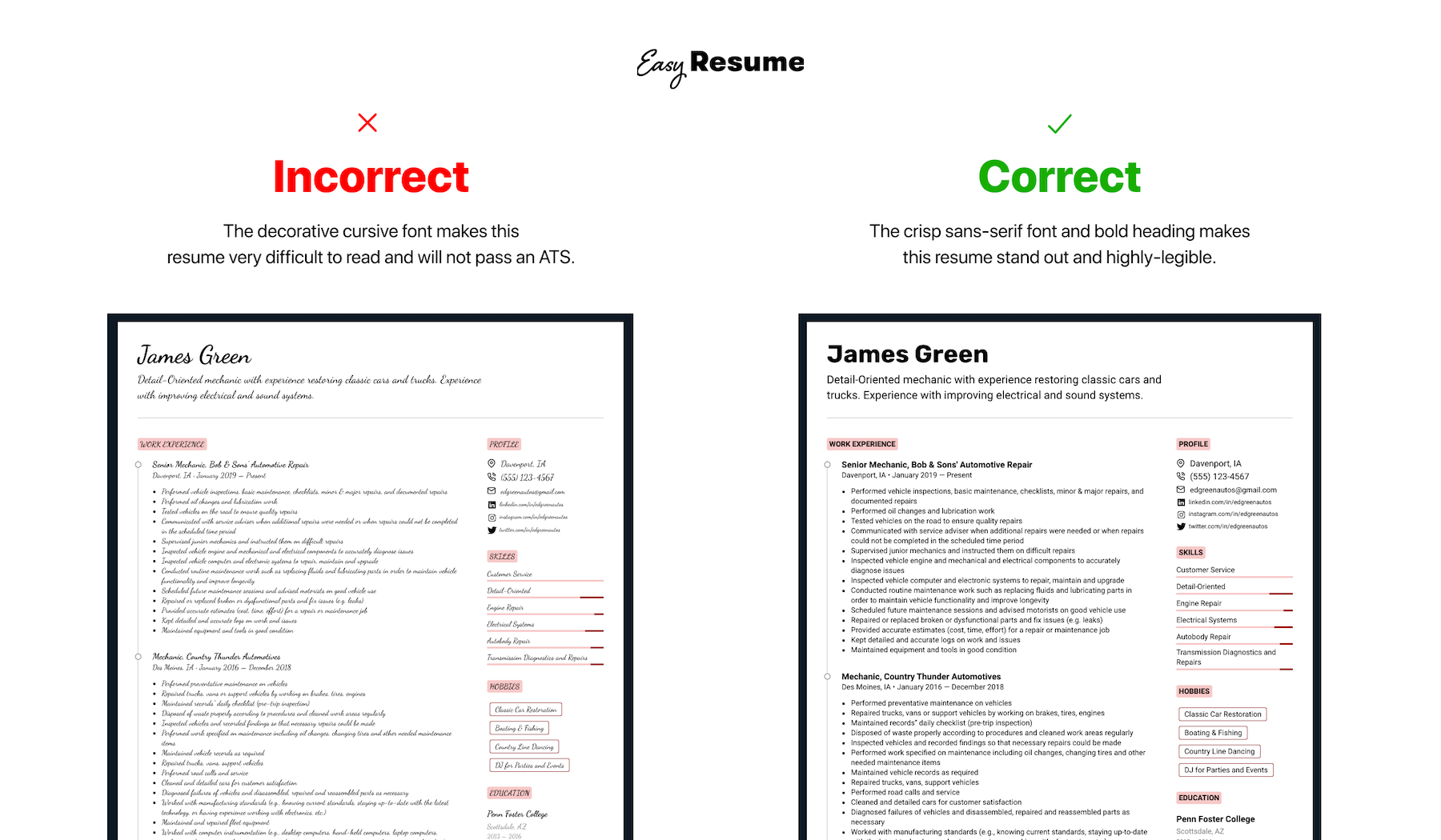 Incorrect and Correct Example of Using Resume Fonts