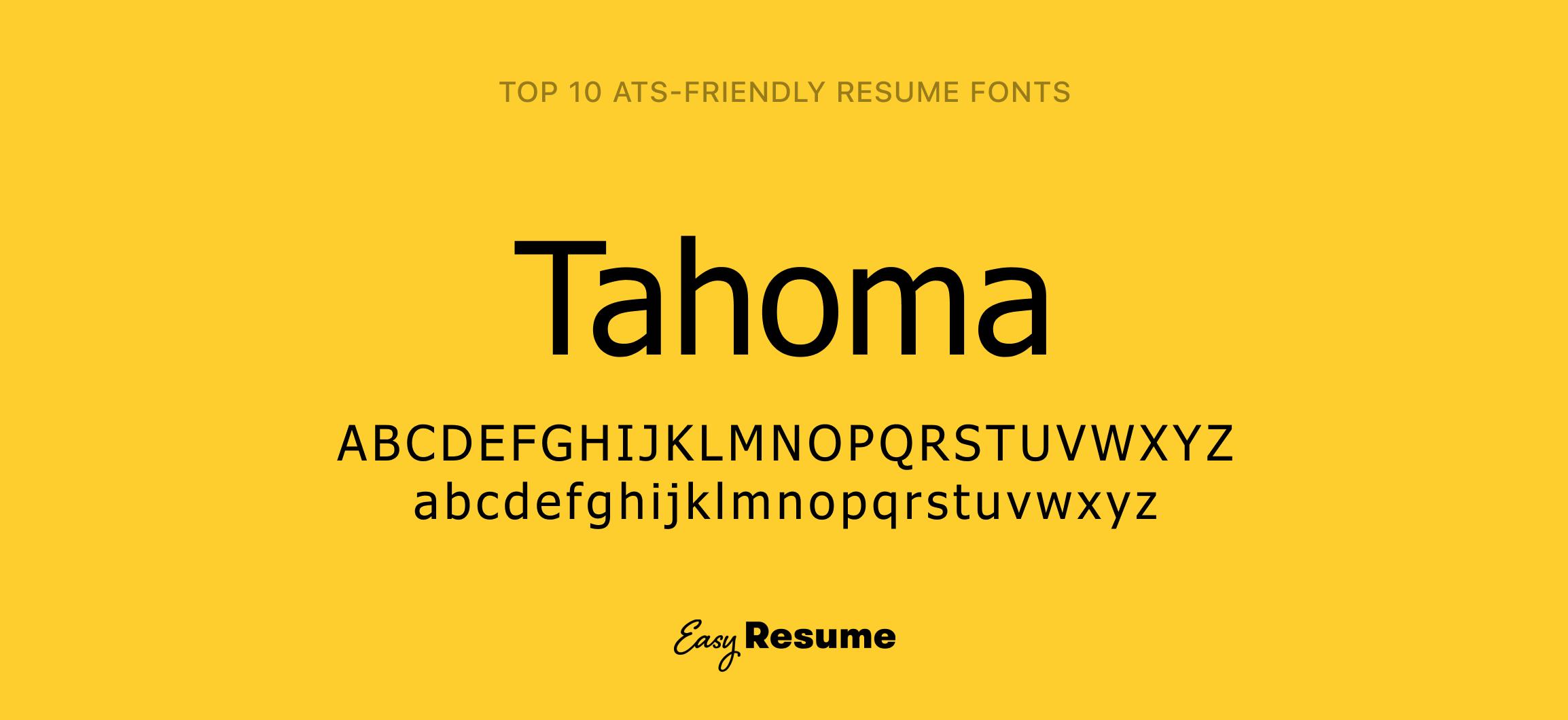 Tahoma Resume Font
