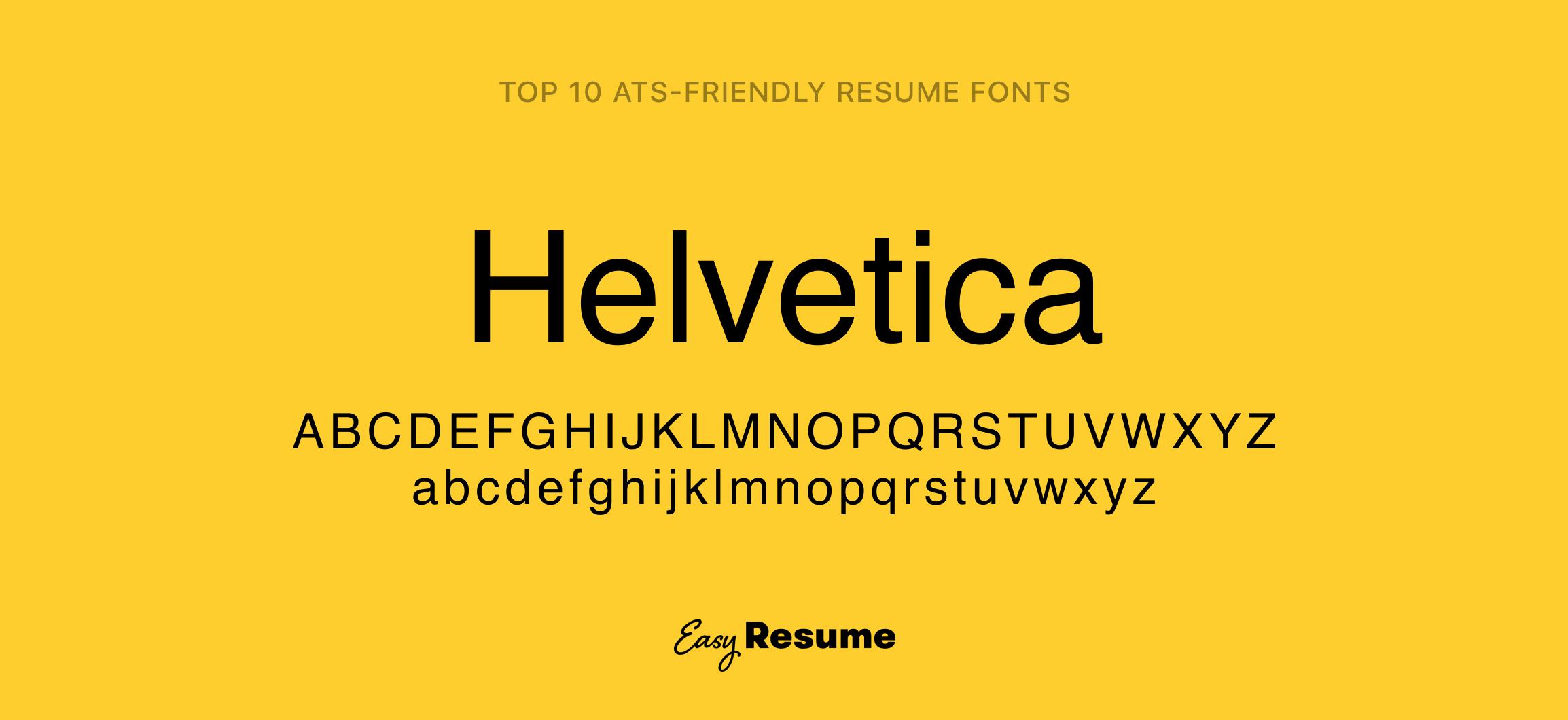 Helvetica Resume Font