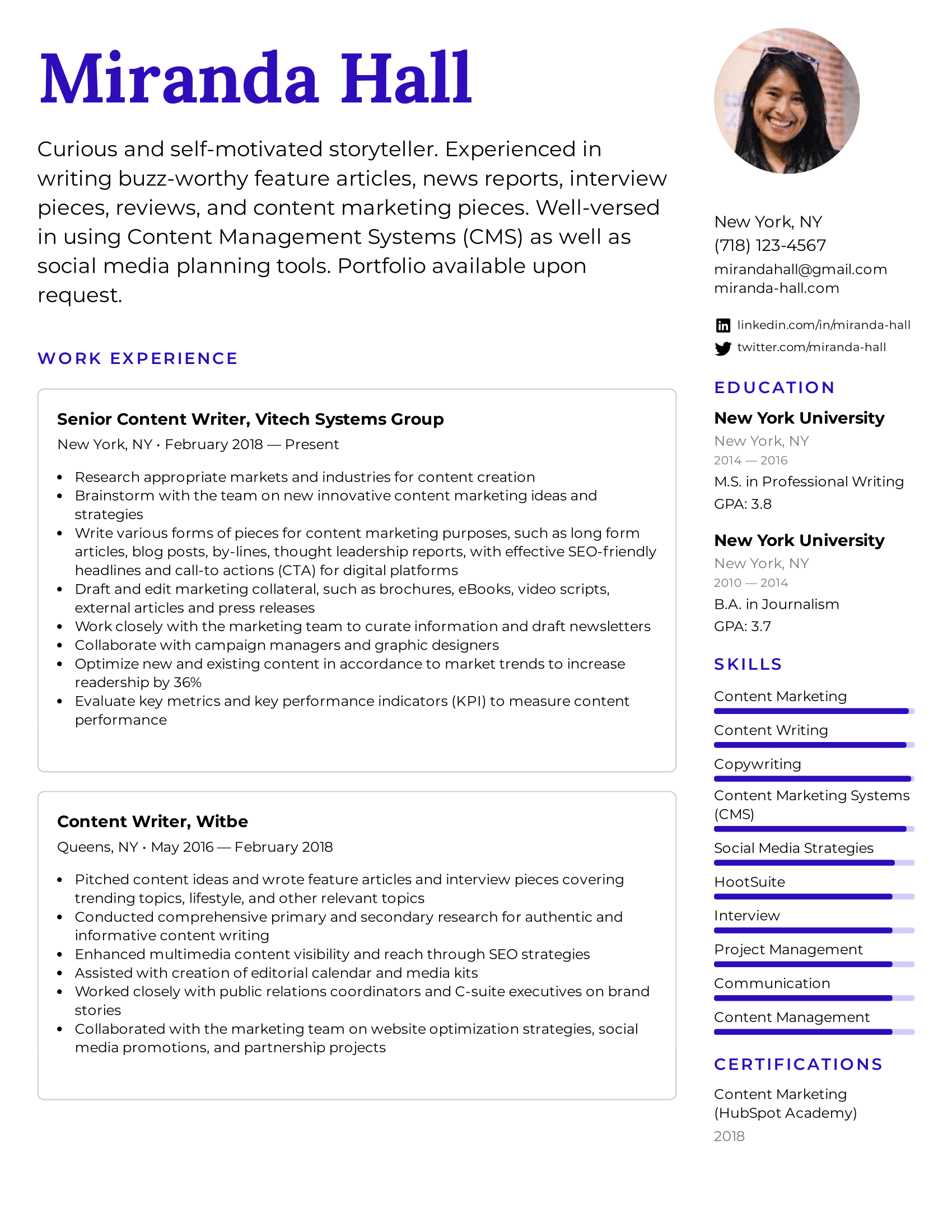 Content Writer Resume Example