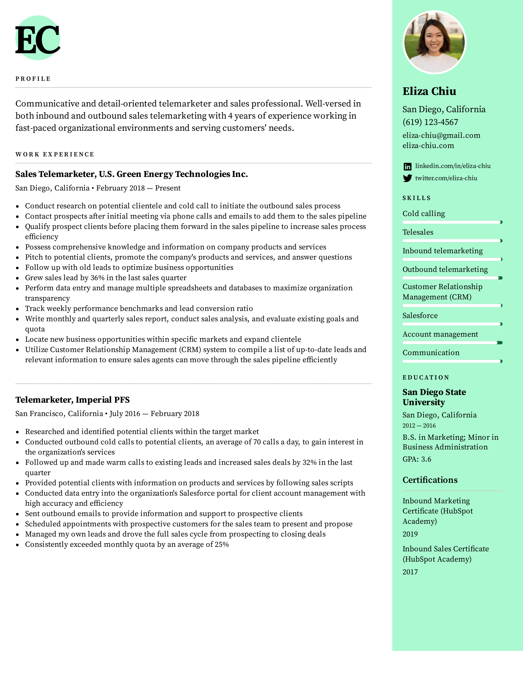 Telemarketer Resume Example