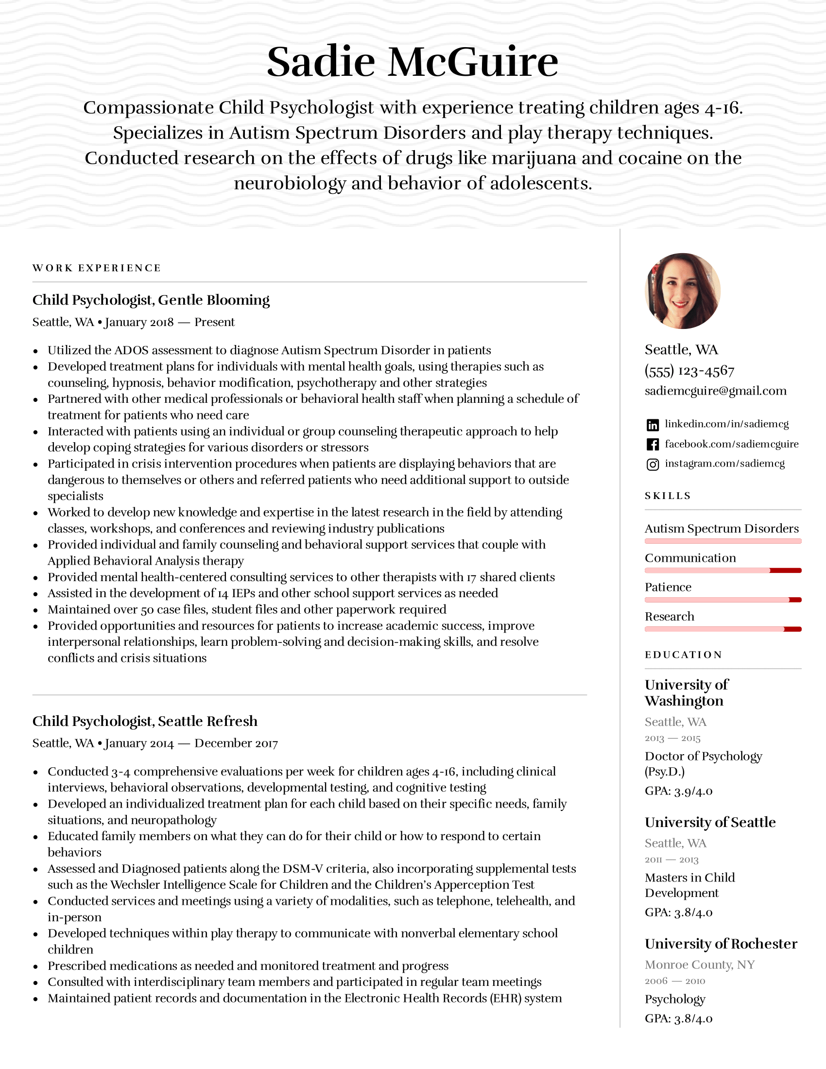 Child Psychologist Resume Example