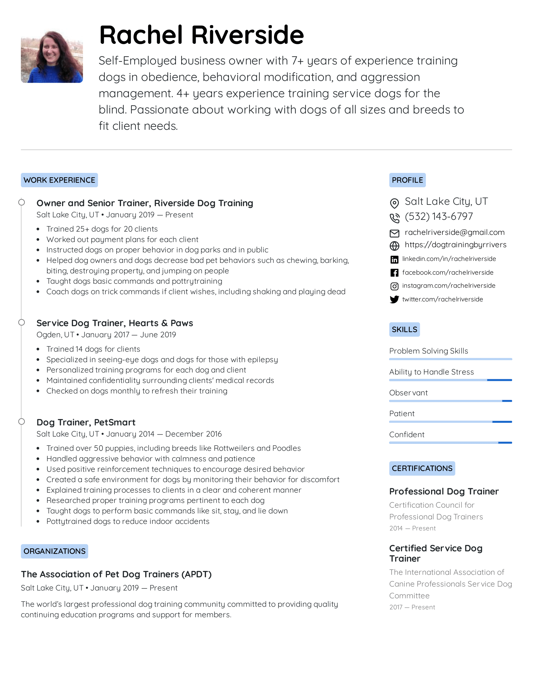 Dog Trainer Resume Example