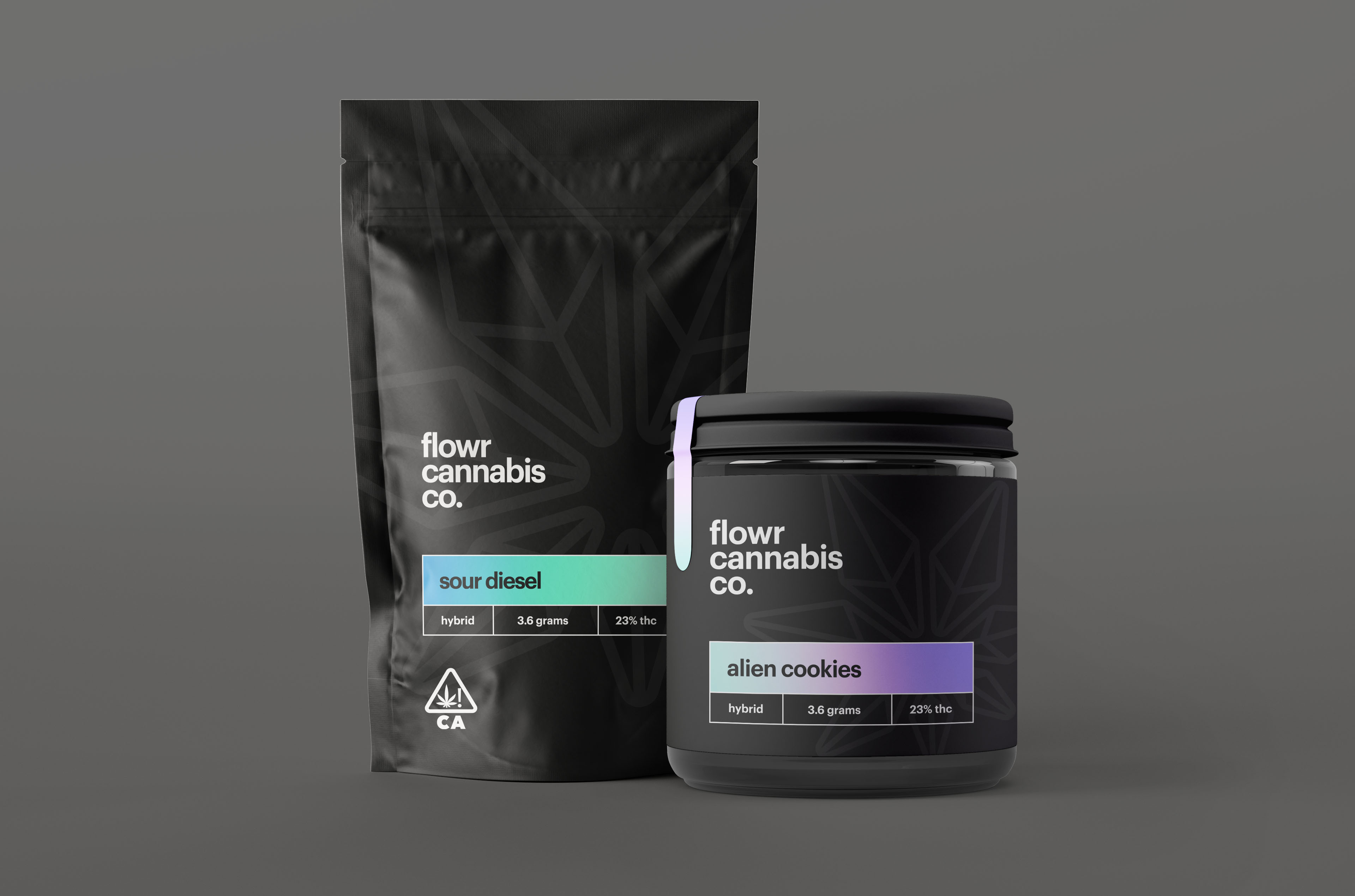 """For Flowr Cannabis' packaging, the objective was to create a mature design that appealed to an older audience. Flowr wanted to break free from the """"taboo"""" or """"high school stoner"""" aesthetic that's often found in the cannabis industry. The outcome was a structured design that's easy to read on a shelf. Color was used in the packaging to differentiate sweet or fruity strains."""