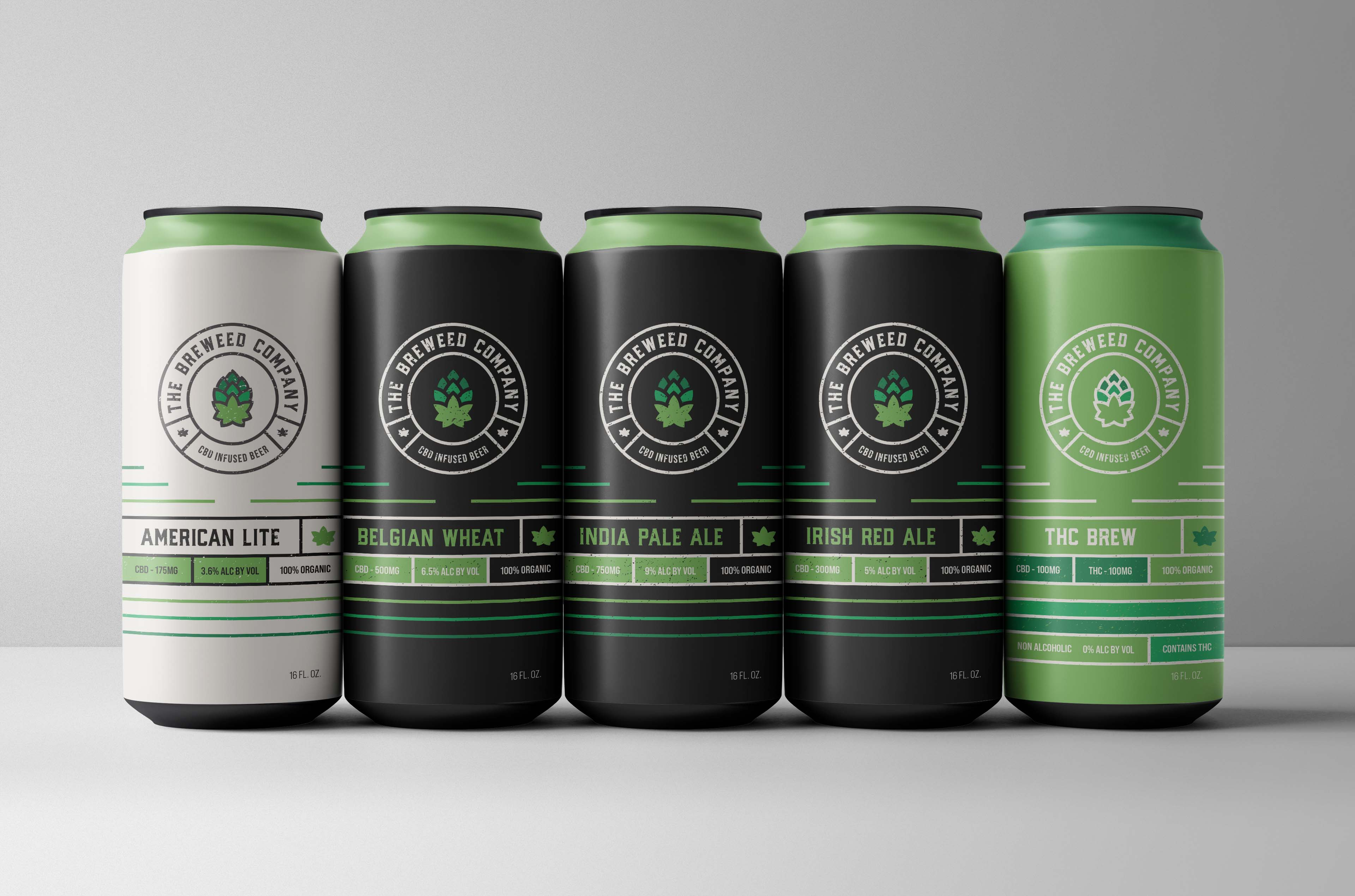 """Breweed Co. is a CBD infused beer brand. Breweed's owners, two surfers/skaters from the South Bay area, imagined a brand identity that represented surf and skate culture while staying true to a more traditional beer brand aesthetic. Being a craft brew, Breweed did not want to get lost in the """"goofy"""" visual aesthetic often found in this space."""