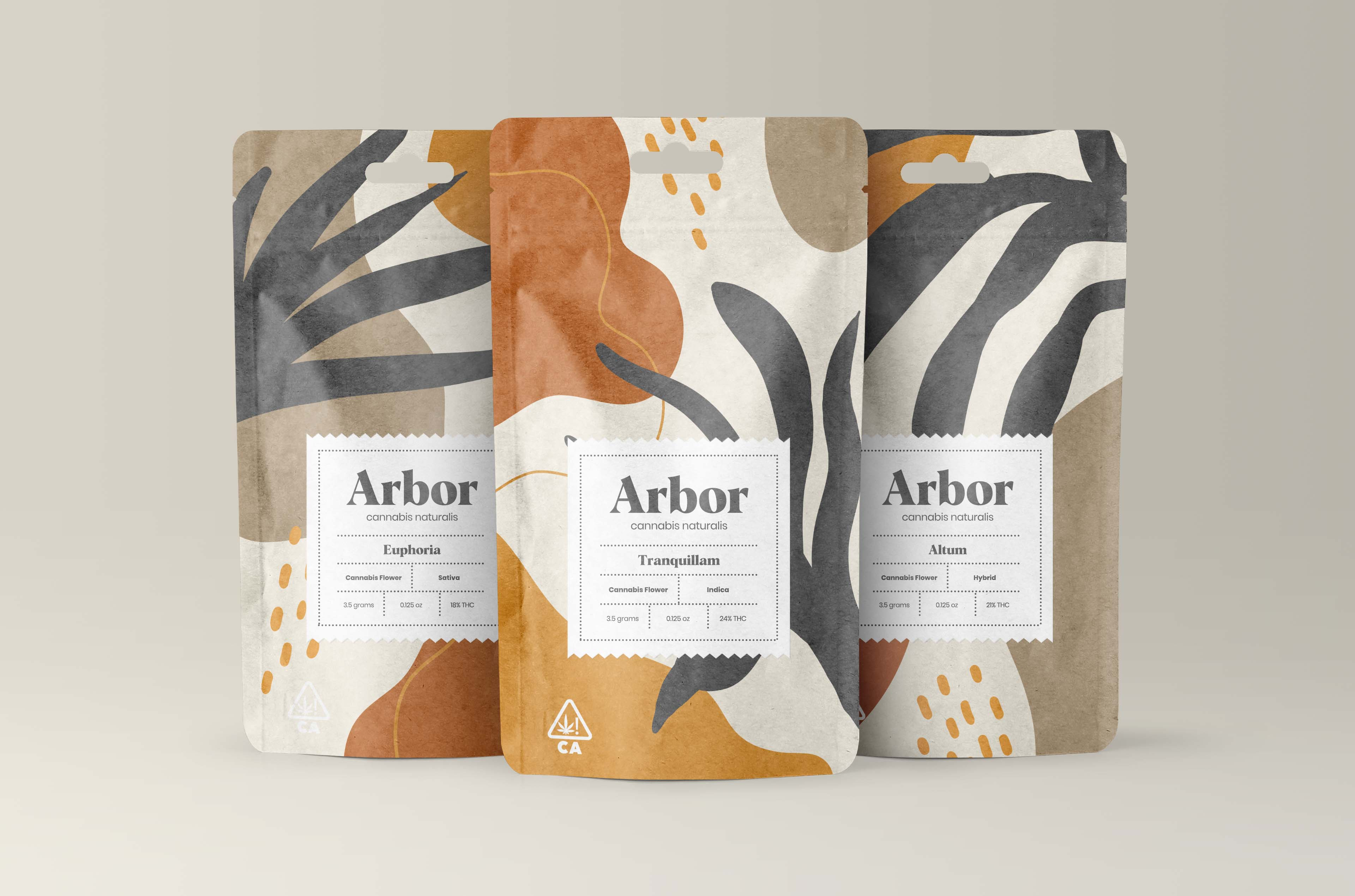 """Design a brand identity to include packaging design. Arbor cannabis forgoes modern farming techniques and mass production in favor of natural, organic methods to produce high quality cannabis free of toxins and metals deposited by """"specialized plant foods."""" It was important to design an identity with supporting packaging that expressed this without using the expected cannabis leaves and green tones. Also, the design needed to compliment the eco-conscious, hemp paper lined pouch the cannabis is packaged in.The logo is a word-mark set in an organic-esque, serif typeface with minor manipulation to the letterforms for a unique design. For the packaging design, which is also used as supporting graphics, is made of organic shapes that resemble natural occurring elements. The brand color palette is comprised of earth tones and does not contain any green tones as per the client design brief."""