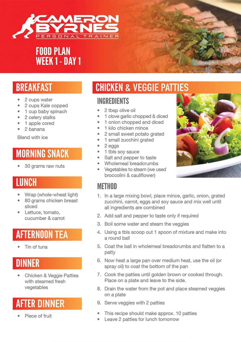 Cameron Byrnes meal plan