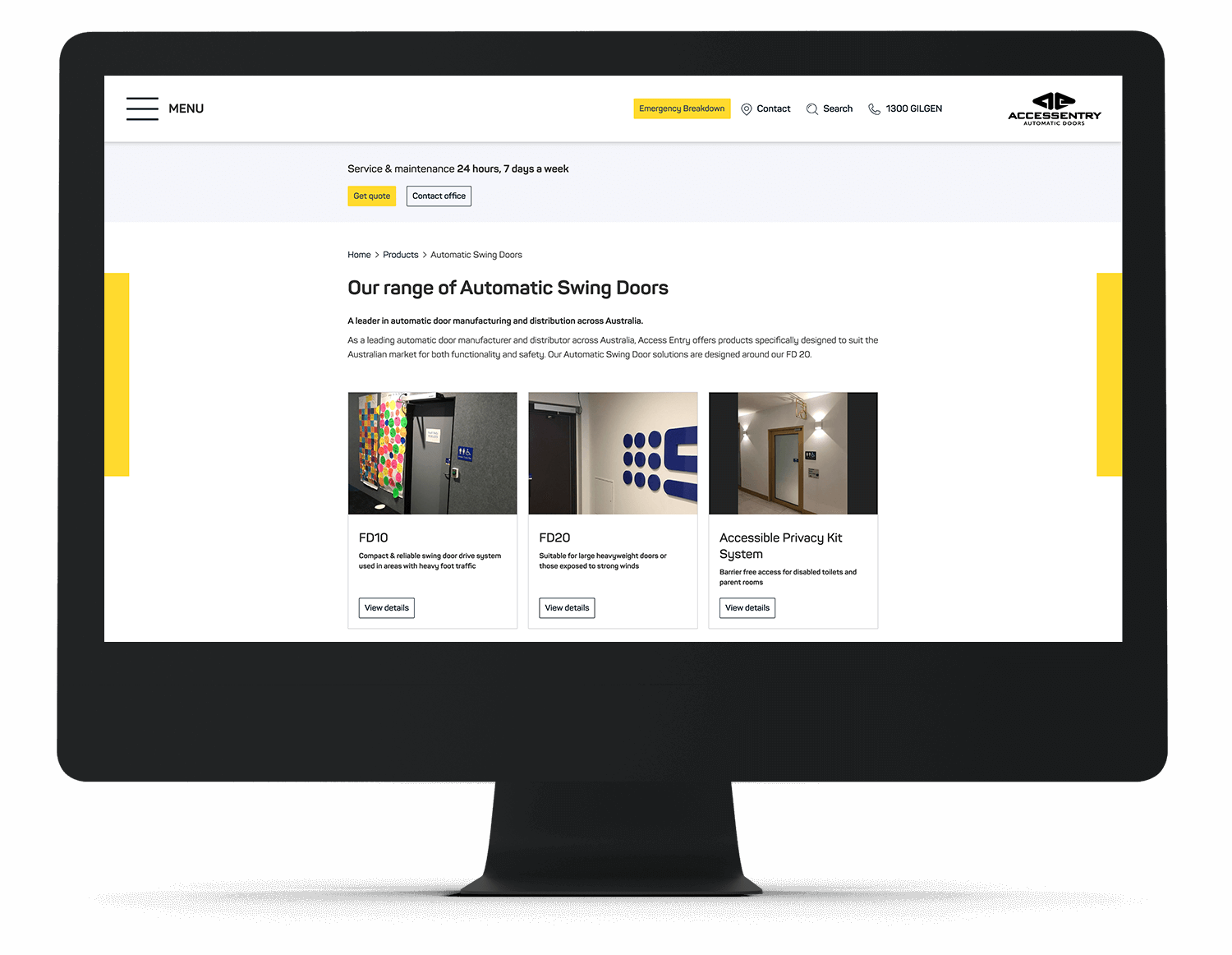 Access Entry automatic doors website on an iMac