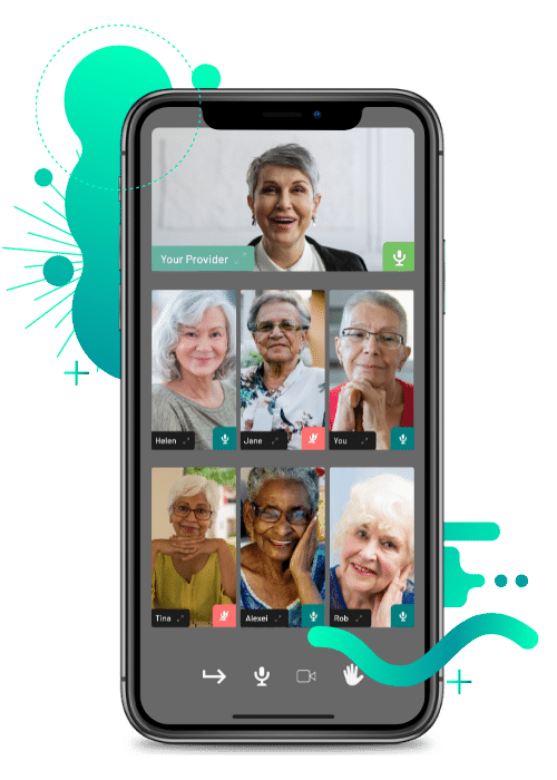 An online videocall group support session in a mobile phone of women ages 55-65+