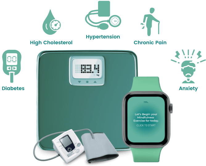 Chronic Care Management Wearables: A scale, a smart watch and BP monitor.