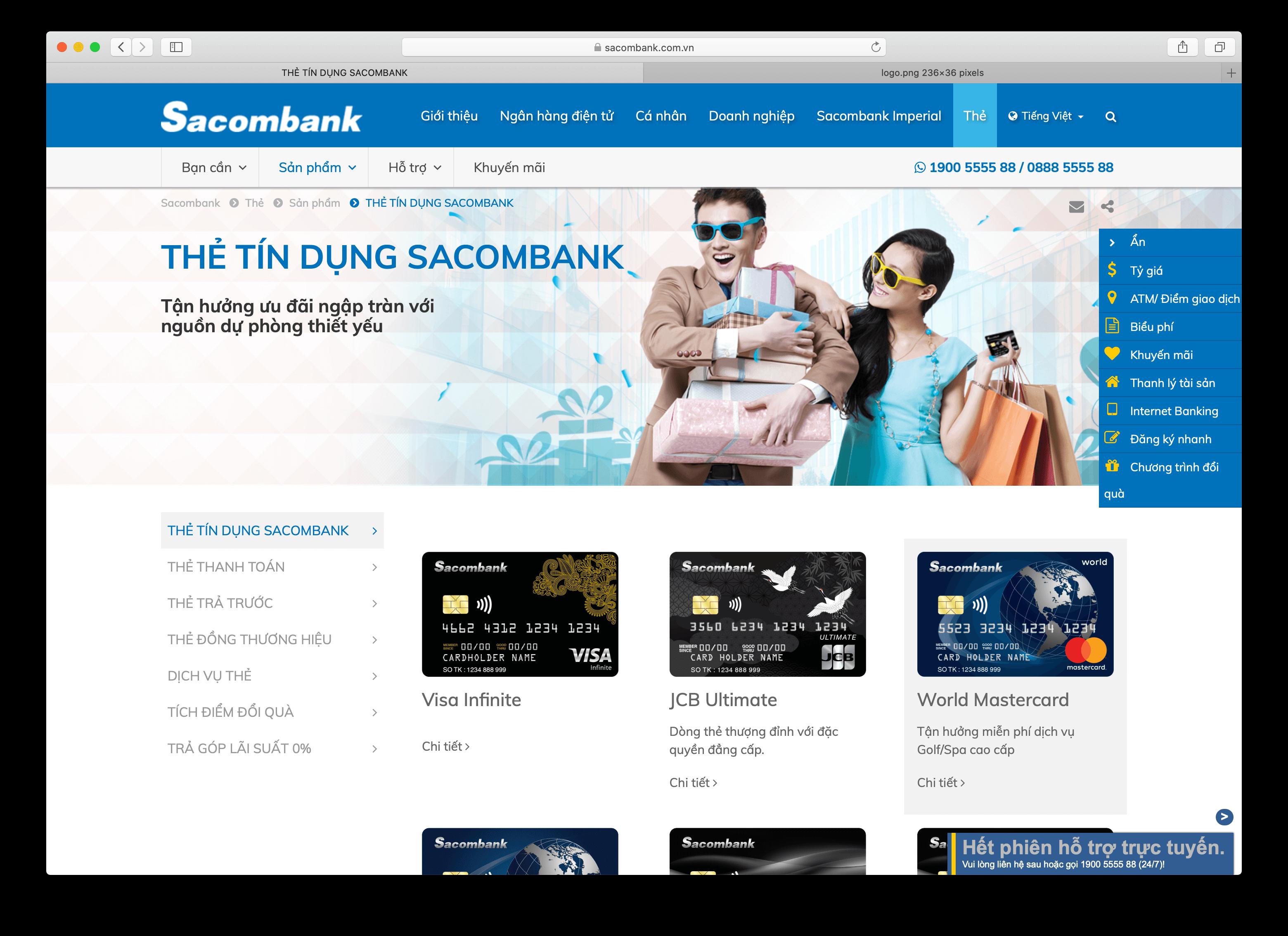 Vay thấu chi tiêu dùng Sacombank
