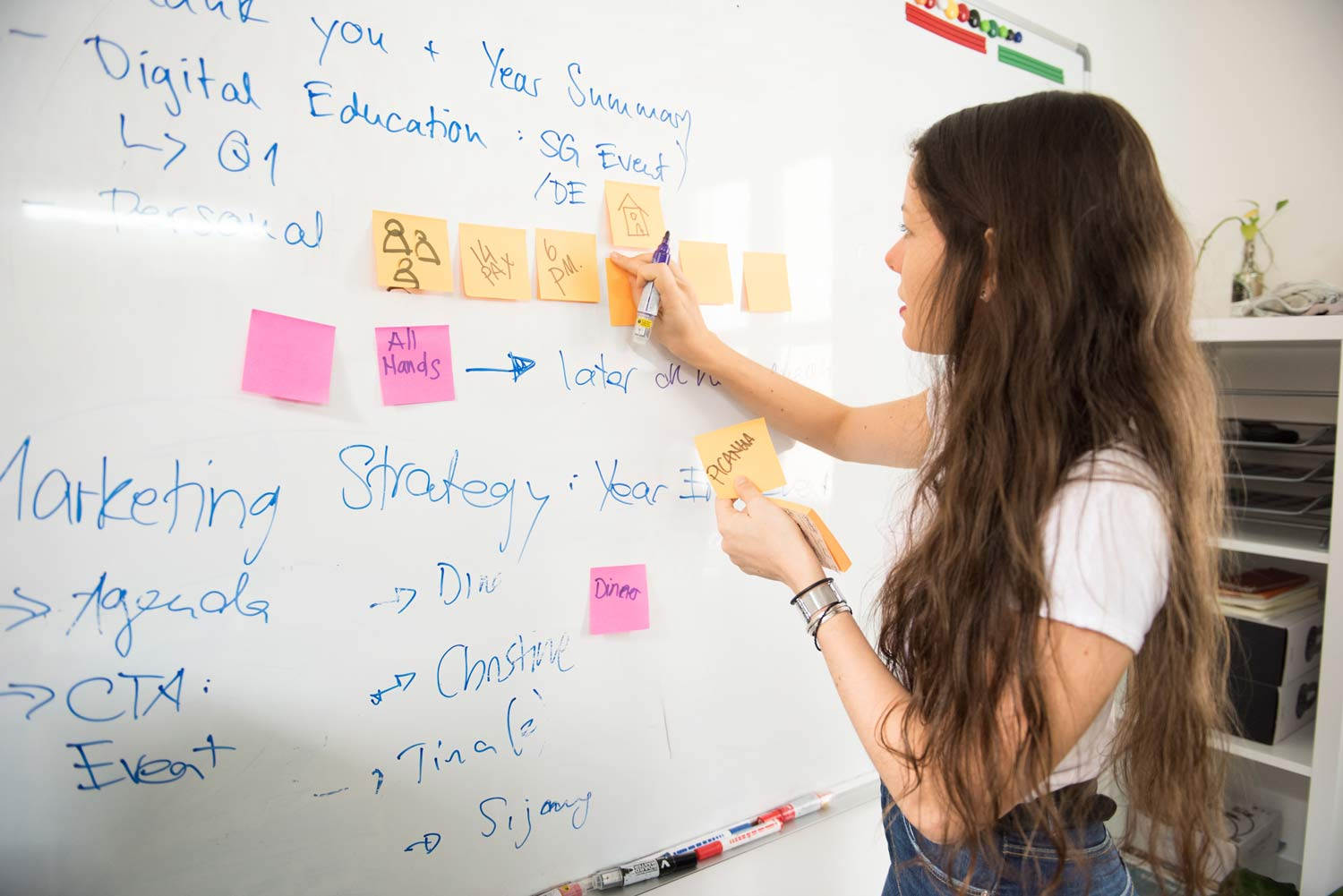 High Schooler leading a brainstorming session using a board, marker, and post-its.