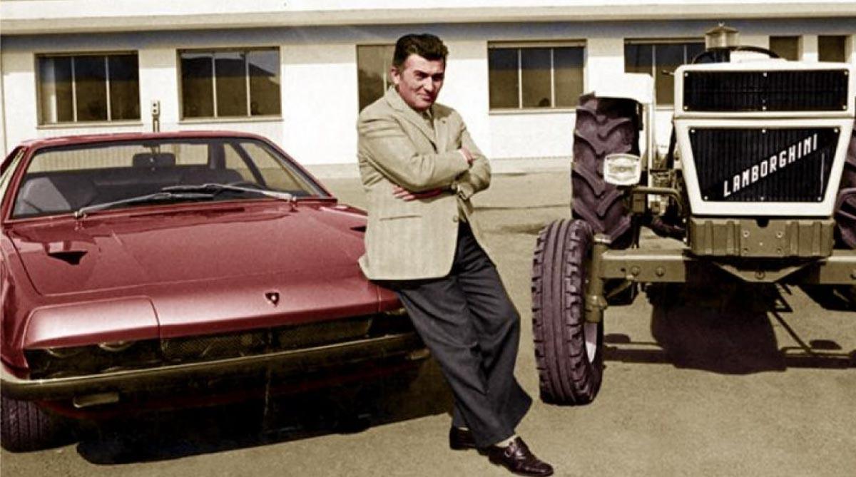 Ferruccio Lamborghini sitting on a Ferrari car next to one of the first Lamborghini tractors.