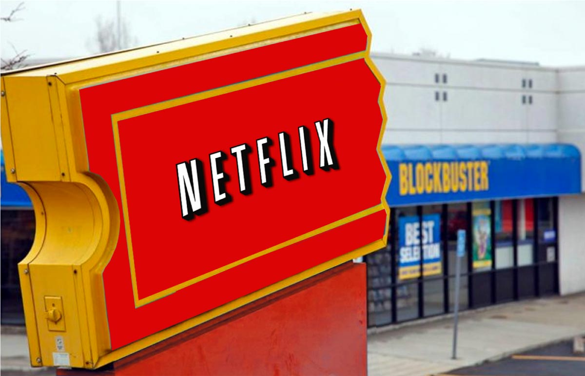 Netflix ad in front of a Blockbuster's store.