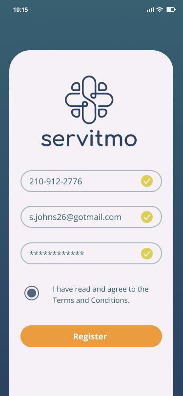Noctune registration screen