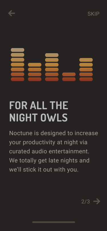 Noctune registration screen