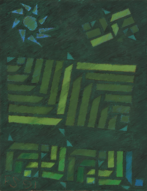 法賈希迪, 大都會與時間之神, 1991, 油彩畫布, 90 x 70 cm