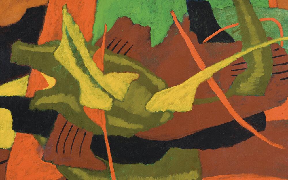 Nashar, Rhythm in Orange, Green and Yellow, 1984, 63.5 x 88 cm