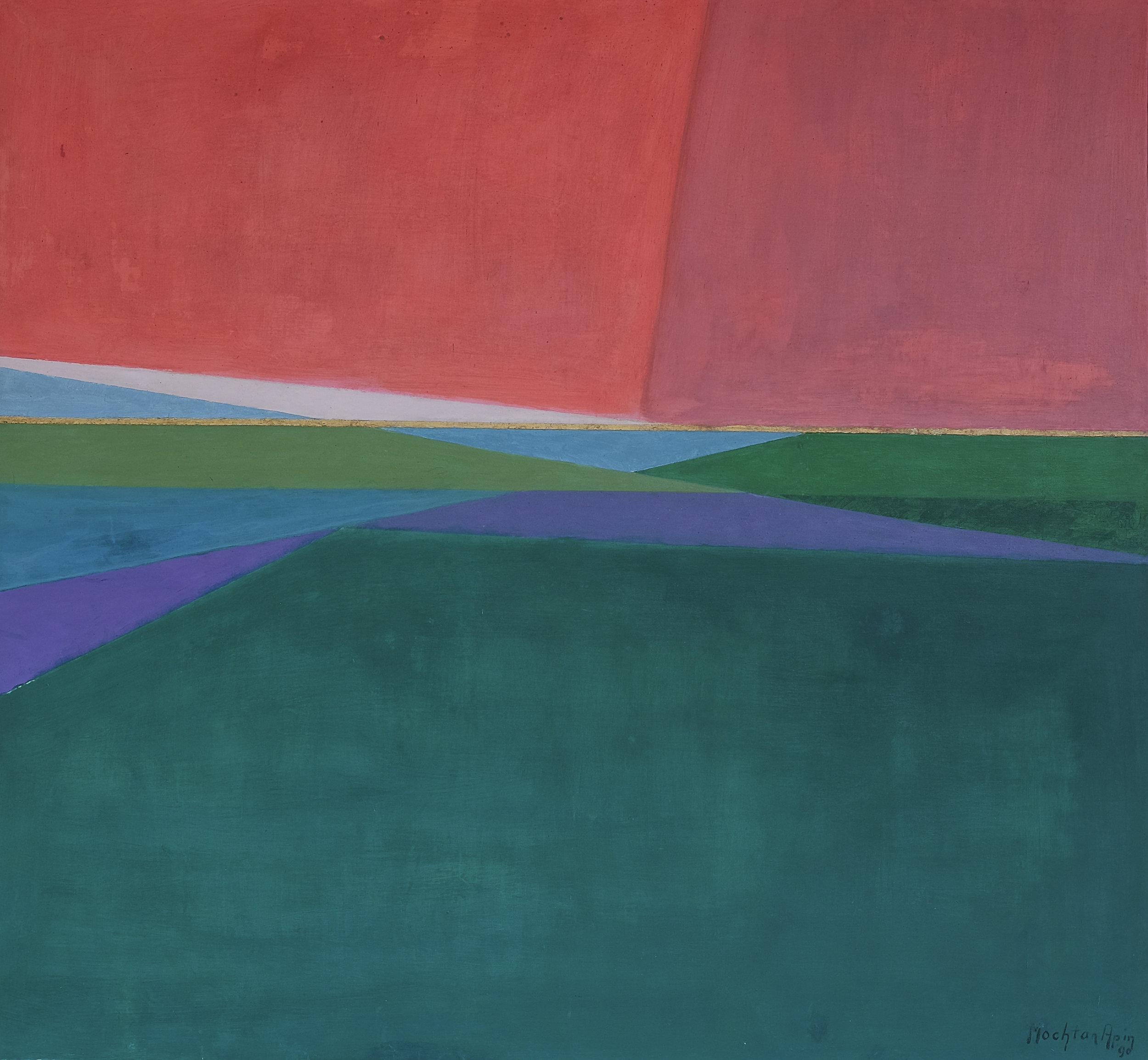 Mochtar Apin, Pemandangan (Landscape), acrylic on canvas, 130 x 140 cm, 1990