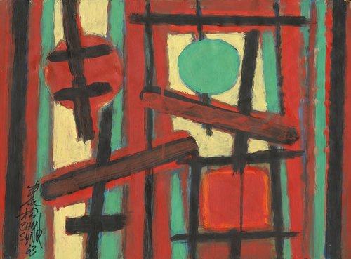 Chin Sung, Festive Sky, acrylic on paper, 39 x 54 cm, 1963