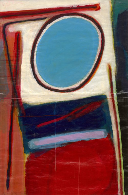 Chin Sung, Abstract, oil on paper, 59 x 88, 1989