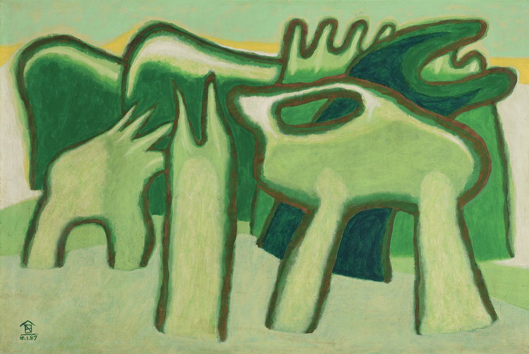 Nashar, Green Rhythm, oil on canvas, 60 x 94 cm, 1987